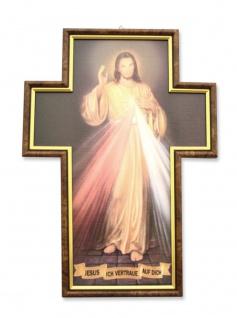 Wandbild Barmherziger Jesus Kreuzform gerahmt 36 cm