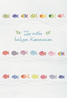 Kommunionkarte Zur ersten heiligen Kommunion (6 Stck) Grußkarte Erstkommunion