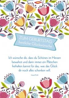 Postkarte Geburtstag Blumen 10 St Adressfeld Wunsch Glück Geschenk Genuss