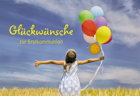 Glückwunschkarte Glückwünsche zur Erstkommunion (6 St) Mädchen mit Luftballons