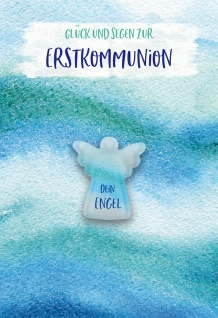 Glückwunschkarte mit Glasmagnet Glück und Segen zur Erstkommunion (5 Stück)