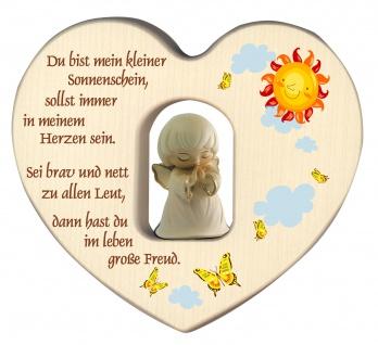 Herz mit Schutzengel Weiß geschnitzt Segen Gebet Holz geschnitzt 12 cm