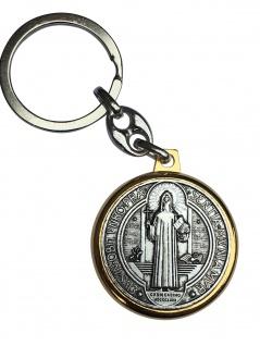Benediktus Schlüsselanhänger Medaille Ø 3 cm Metall mit Schlüsselring