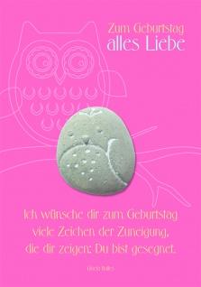 Geburtstagskarte rosa mit Stein Zum Geburtstag (3 Stck) Grusskarte Kuvert