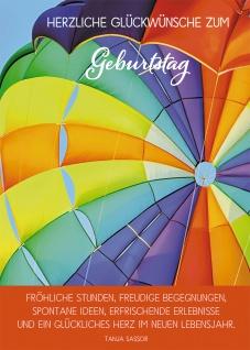 Postkarte Herzliche Glückwünsche zum Geburtstag (10 St) Bunter Heißluftballon