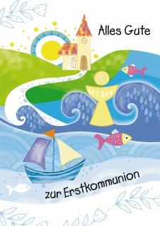 Glückwunschkarte Alles Gute zur Erstkommunion (6 St) Kirche Kelch Wellen Fische