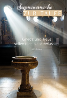 Glückwunschkarte Taufe 6 St Kuvert Bibelwort Glaube Gnade Taufbecken Sakrament