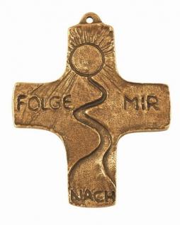 Wandkreuz Folge mir nach Bronze massiv 8, 5 cm Andrea Zrenner Erstkommunion