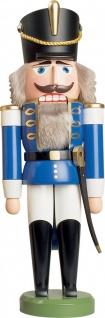 Nussknacker Husar blau 37 cm Holz-Figur Handarbeit aus Seiffen im Erzgebirge