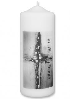 Trauerkerze In stiller Trauer Kreuz Silber Schwarz 22 cm Handarbeit Tischkerze