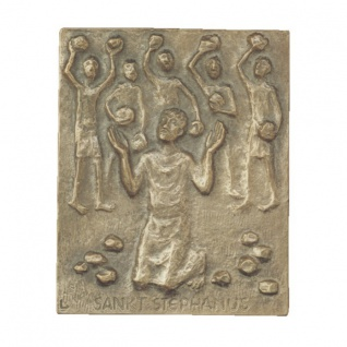Namenstag Stephanus Stephan Steffen 13 x 10 cm Bronze Wandbild Schutzpatron