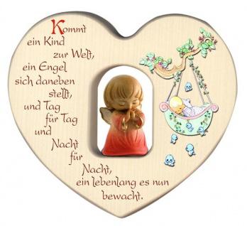 Herz mit Schutzengel Rot Segen Gebet Holz geschnitzt 12 cm Taufgeschenk