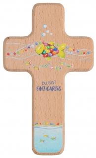Kinderkreuz Du bist einzigartig 18 cm Holzkreuz Geschenkverpackung