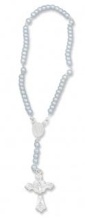 Rosenkranz für Kinder Baby-Rosenkranz blaue Perlen 15 cm Jungen Taufschmuck - Vorschau