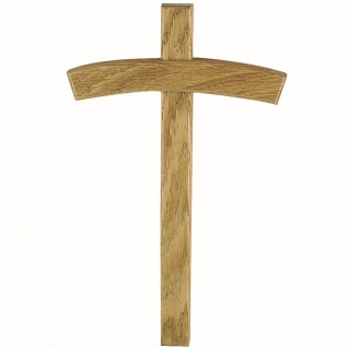 Wandkreuz Holzkreuz Eiche hell Kreuz Kruzifix Kreuzbalken gebogen 25 cm