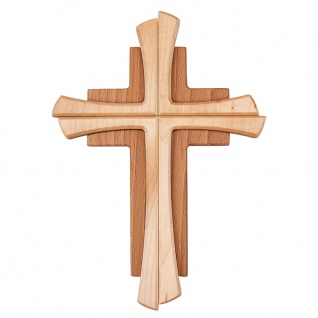 Wandkreuz Buchenholz zweifarbig gebeizt Holzkreuz Schmuckkreuz 22 x 15 cm
