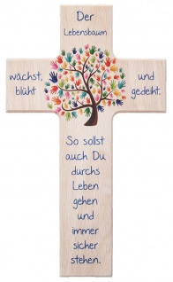 Kinderkreuz Der Lebensbaum wächst und gedeiht.. Buchenholz 15 cm Wandkreuz