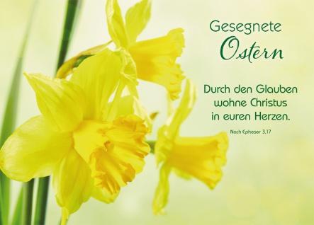 Postkarte Gesegnete Ostern (10 St) Osterglocken Epheser Lutherbibel Grußkarte
