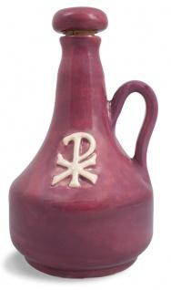 Weihwasserkrug PX Christusmonogramm Ton rot beige glasiert 0, 5 l Weihwasser