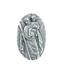 Autoplakette Christophorus Jesu 5 cm Silberbronze Christophorus Plakette