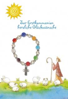 Glückwunschkarte Hirt und Schafe (5 St) mit Armband Erstkommunion R. Abeln