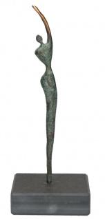 Figur Athletin Bronze Jörg Schröder Sockel Schiefer Patiniert Dekofigur