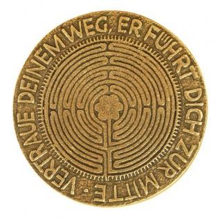 Bronze Plakette Relief Labyrinth Vertraue deinem Weg Ø 9 cm Handarbeit Fischbach