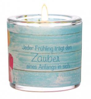 Glaswindlicht Jeder Frühling inkl Teelicht Kerzenhalter Glas für Windlicht