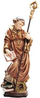 Heiliger Adalhard mit Dornenkrone Heiligenfigur Holz geschnitzt Schutzpatron