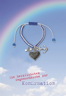 Konfirmation Grußkarte Glaube Liebe Hoffnung Armband (5 Stck) Bibelwort