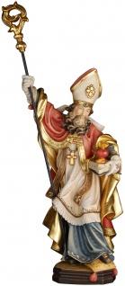 Heiliger Augustinus mit brennendem Herzen Heiligenfigur Holz geschnitzt
