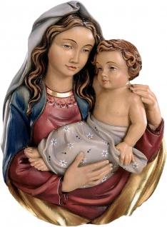 Wandrelief Madonna Holz geschnitzt handbemalt Maria mit Kind Schnitzkunst