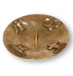 Kerzenständer 4 christliche Symbole Bronze 20 cm Kerzenhalter