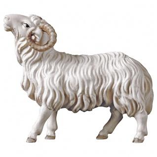 Schafbock Holzfigur geschnitzt Südtirol Krippenfigur Hirten Krippe