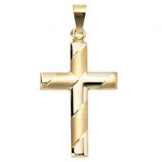 Anhänger Kreuz 333 Gold Gelbgold mattiert diamantiert Kreuzanhänger Goldkreuz
