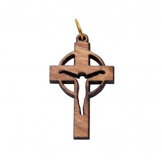 Schmuck Kreuz Anhänger JESUS 3, 5 cm Kruzifix Olivenholz Lederband Holzkreuz