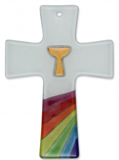 Glaskreuz Regenbogen Kommunion Kelch goldfarben Glas Kreuz 13 cm Wandkreuz - Vorschau
