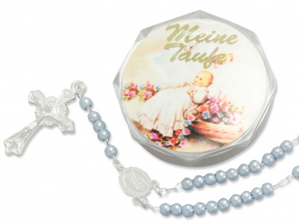 Tauf-Rosenkranz 15 cm blaue Perle Taufschmuck (Jungen) Meine Taufe mit Etui