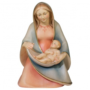 Madonna der Hoffnung sitzend Holzfigur geschnitzt Südtirol Marienfigur
