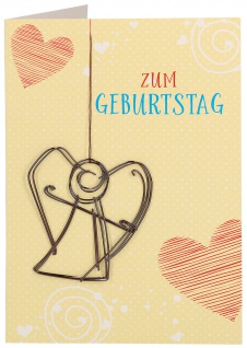 Glückwunschkarte Geburtstag Engel-Anhänger 5 St Kuvert Herz Naturpapier