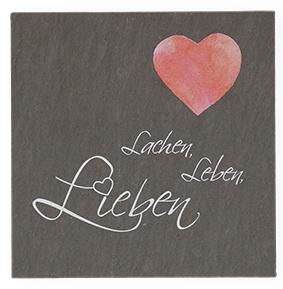 Wandrelief Lachen, Leben, Lieben Schiefertafel 10 cm Wandbild Deko