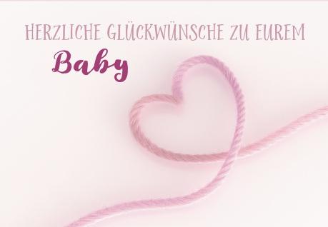 Glückwunschkarte Geburt Herz 6 St Kuvert Willkommen Baby Liebe Geborgenheit