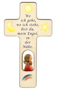 Kreuz für Kinder Schutzengel Gebet Baby Engel Kruzifix Holz-Kreuz Wandkreuz