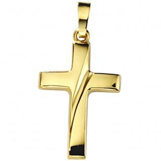 Anhänger Kreuz 333 Diagonal Gold Gelbgold Kreuzanhänger Goldkreuz