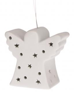 Lichter Zeit Engel aus Porzellan mit LED Licht Christbaum Dekoration