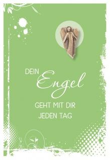 Klappkarte mit Bronze-Engel Dein Engel geht mit dir (5 St) Grußkarte Kuvert