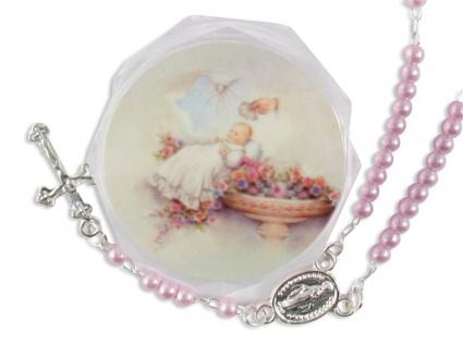 Tauf-Rosenkranz 15 cm rosa Perlen Taufschmuck (Mädchen) mit Rosenkranz-Etui
