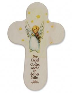 Kinderkreuz Engel Geige Naturholz Irisches Segenswort 15 cm Wandkreuz Holz Kreuz