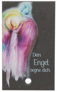 Engel Bild Schiefertafel Dein Engel segne dich Holzstab zum Aufstellen 10 cm