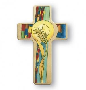 Kinderkreuz Kommunion Weizenkorn Ähre Kreuz 11 cm Wandkreuz Holzkreuz